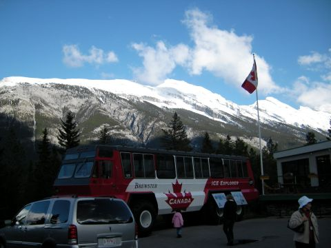 Ice Explorer and Mount Rundle